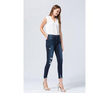 Flying Monkey Tales - High rise distressed crop skinny denim jeans