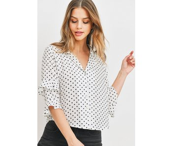 Paper Crane Polka Dot button down top with tier ruffle sleeves