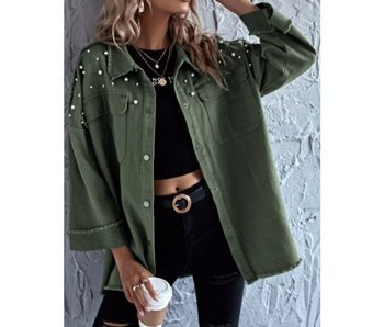 Trend Shop Drop Shoulder with Beaded Pearls and Raw Hem Jacket