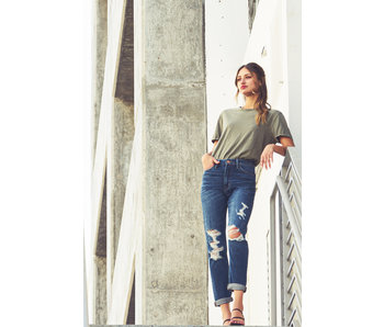 Flying Monkey Flying Monkey Bay Breeze Distressed Roll Up Mom Jeans