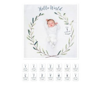 lulujo baby Baby's First Year blanket & card set  -Hello World