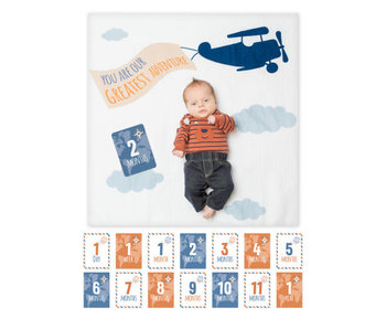 lulujo baby Baby's First Year blanket & card set  -Greatest Adventure