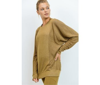 Mono B Mixed Hacci Round-Neck Sweater