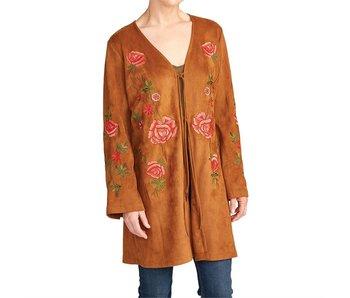 Coco + Carmen Zarina Embroidered Suede Jacket
