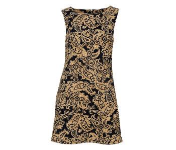 Arianna Gold Paisley Print Dress