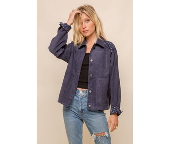 Hem and Thread Mixed Corduroy Button Down Light Weight Jacket