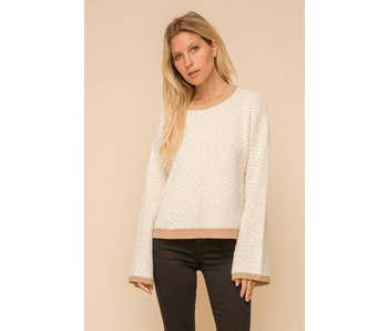 Hem and Thread Two-Tone Bell Sleeve Crew Neck Pullover Sweater
