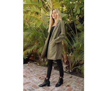 Hem and Thread Light Weight suede longline open coat