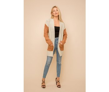 Hem and Thread Color Block open cardigan with pockets