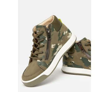 Joules Joules high top lace up trainer with side zipper -Camo