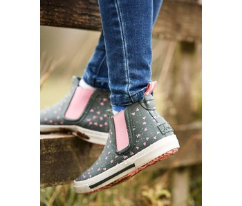 Joules Joules green pink fox short Welly rain boot
