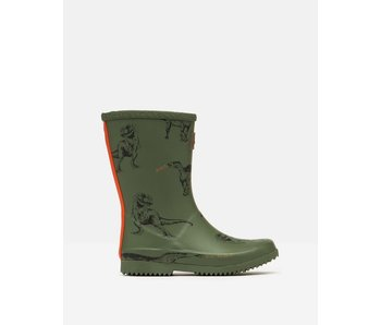 Joules Joules Green Dinosaur roll up rain boots