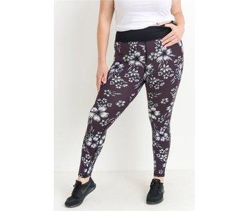 Mono B Plus high waist plum hibiscus full leggings