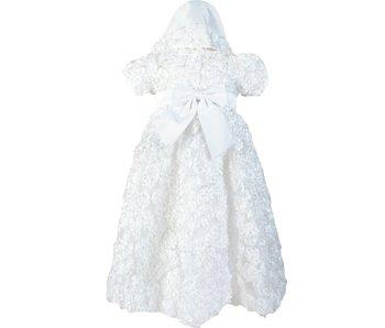 Angeline Kids Infant Girls Christening Baptism Dress With Bonnet - Peony