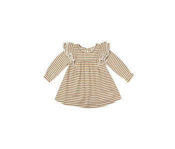 Quincy Mae Quincy Mae long sleeve flutter dress -Walnut