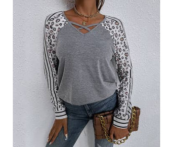 Anna-Kaci Striped Leopard Print Long Sleeve Top