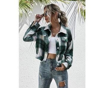 Anna-Kaci Plaid Print Drop Shoulder Jacket