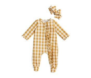 Mud Pie Mustard Gingham baby footie sleeper & headband set