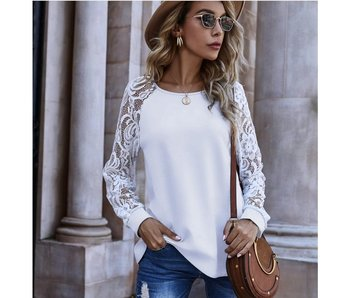 Anna-Kaci Lace Sleeve Detail Shirt