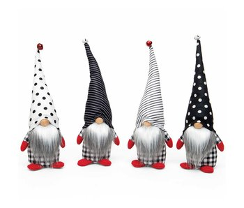 MeraVic Falala gnome black/white with jingle bell, spot/stripe