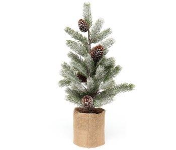 "MeraVic Spruce Pine Tree 19"" Pine cone burlap pot"