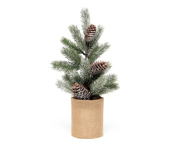 "MeraVic Spruce Pine Tree 13"" Pine cone burlap pot"