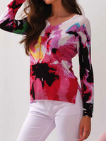 Alison Sheri Floral Sweater w/Side Slits