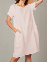 pistache Linen Dress w/Cotton Sides