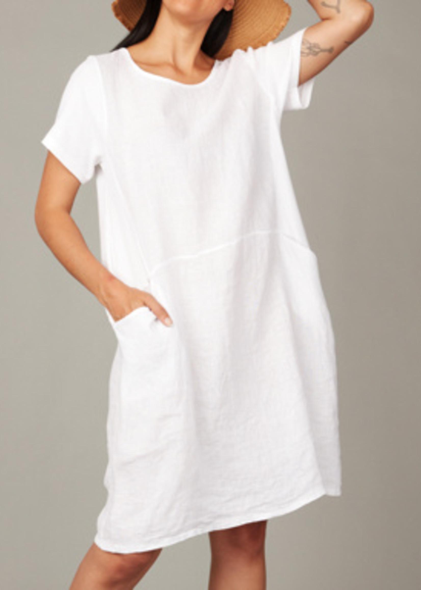 pistache Linen Dress w/Cotton