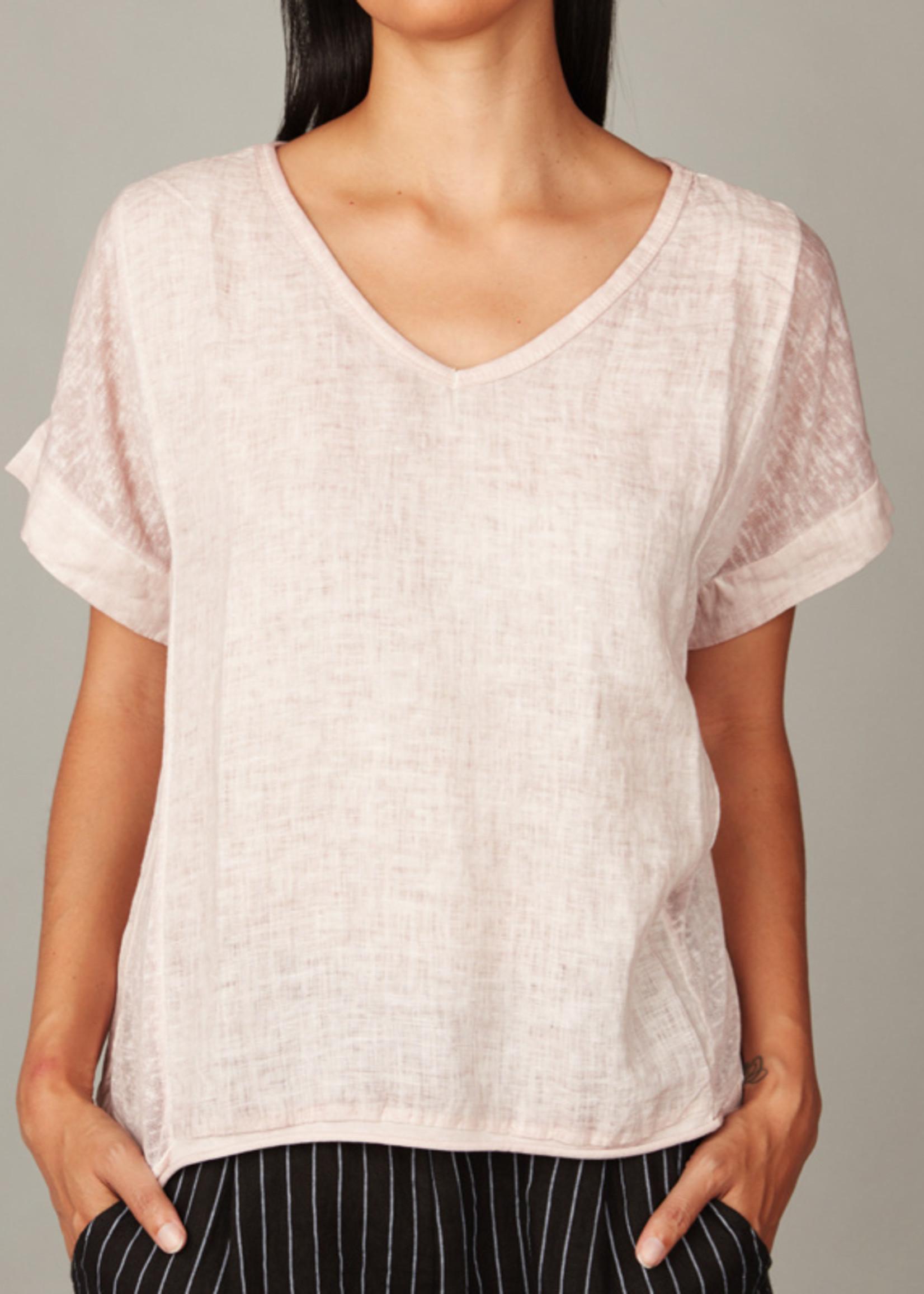 pistache Linen and Woven Top