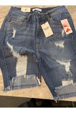 Encore Encore High Rise Destroyed Bermuda Shorts