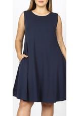 Zenana Classic A- Line Sleeveless Cotton Dress with Pockets