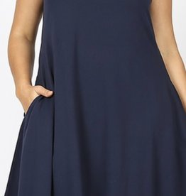 Zenana Classic A- Line Sleeveless Cotton Dress with Pockets
