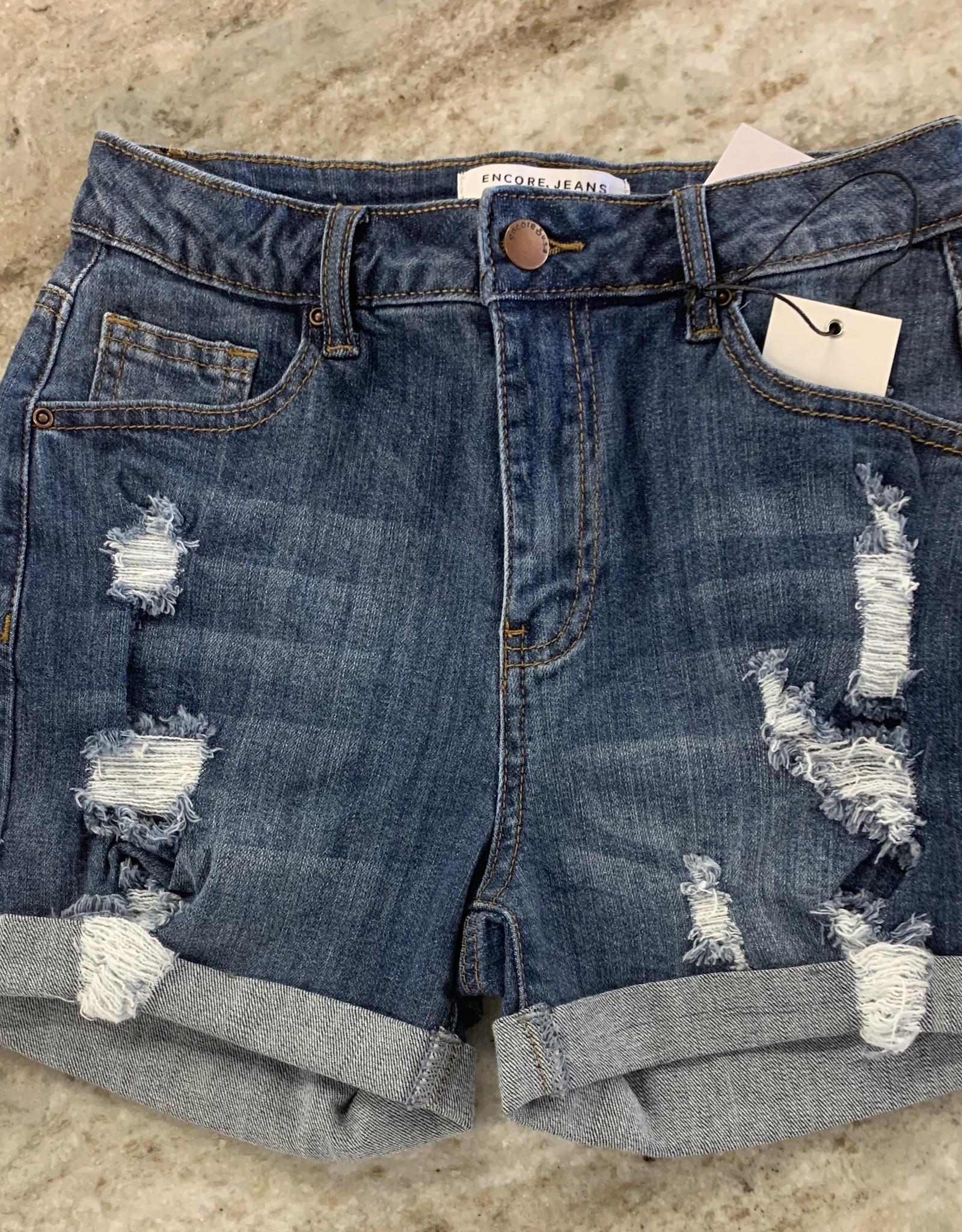 Encore Encore High Ride Distressed Shorts