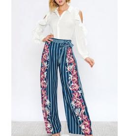 Jealous Tomato Striped/ Floral Printed Wide Leg Pants