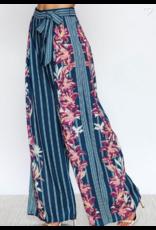 Jealous Tomato Striped/ Floral Printed Wide Leg Pants