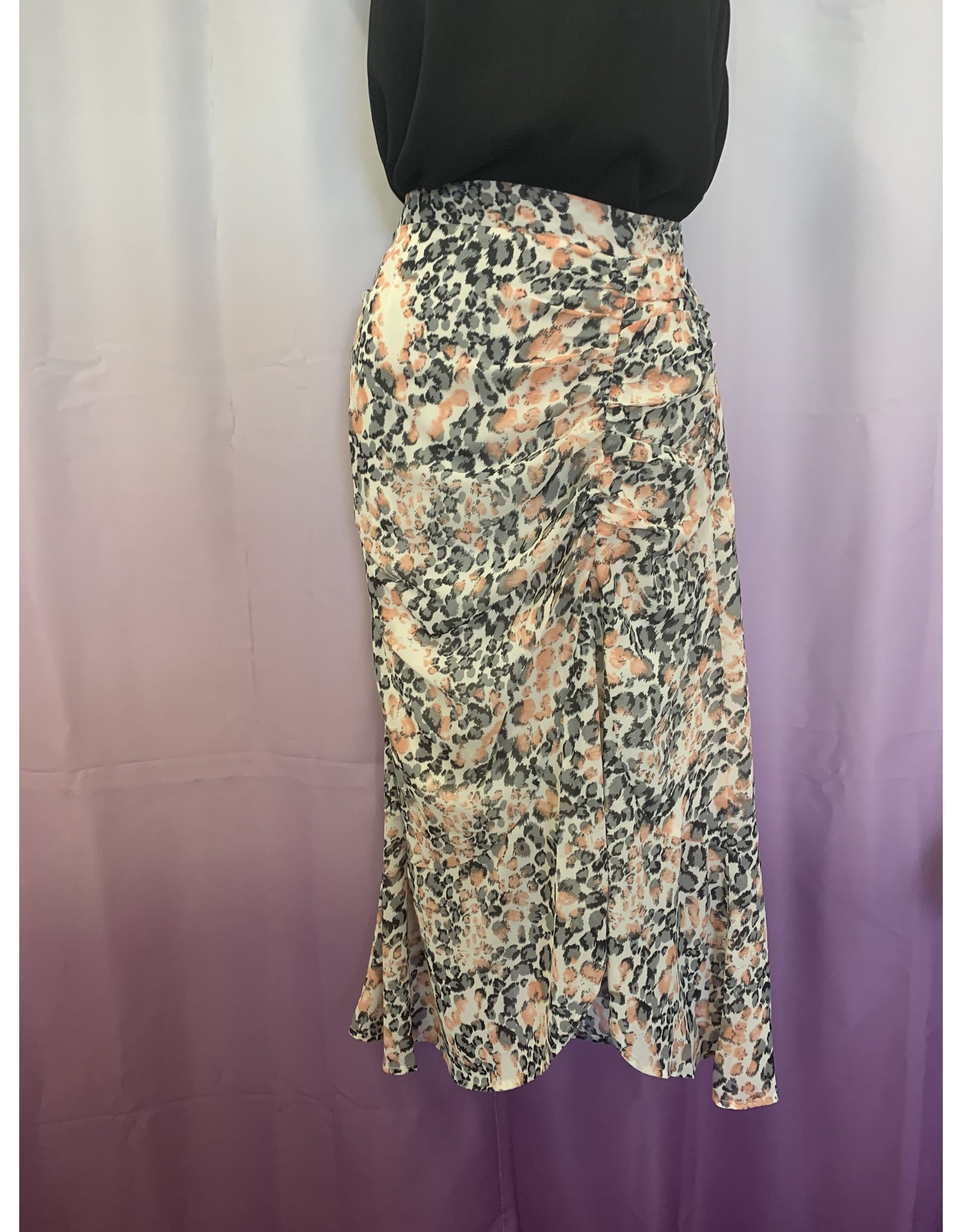 Ruched Leopard Print Skirt