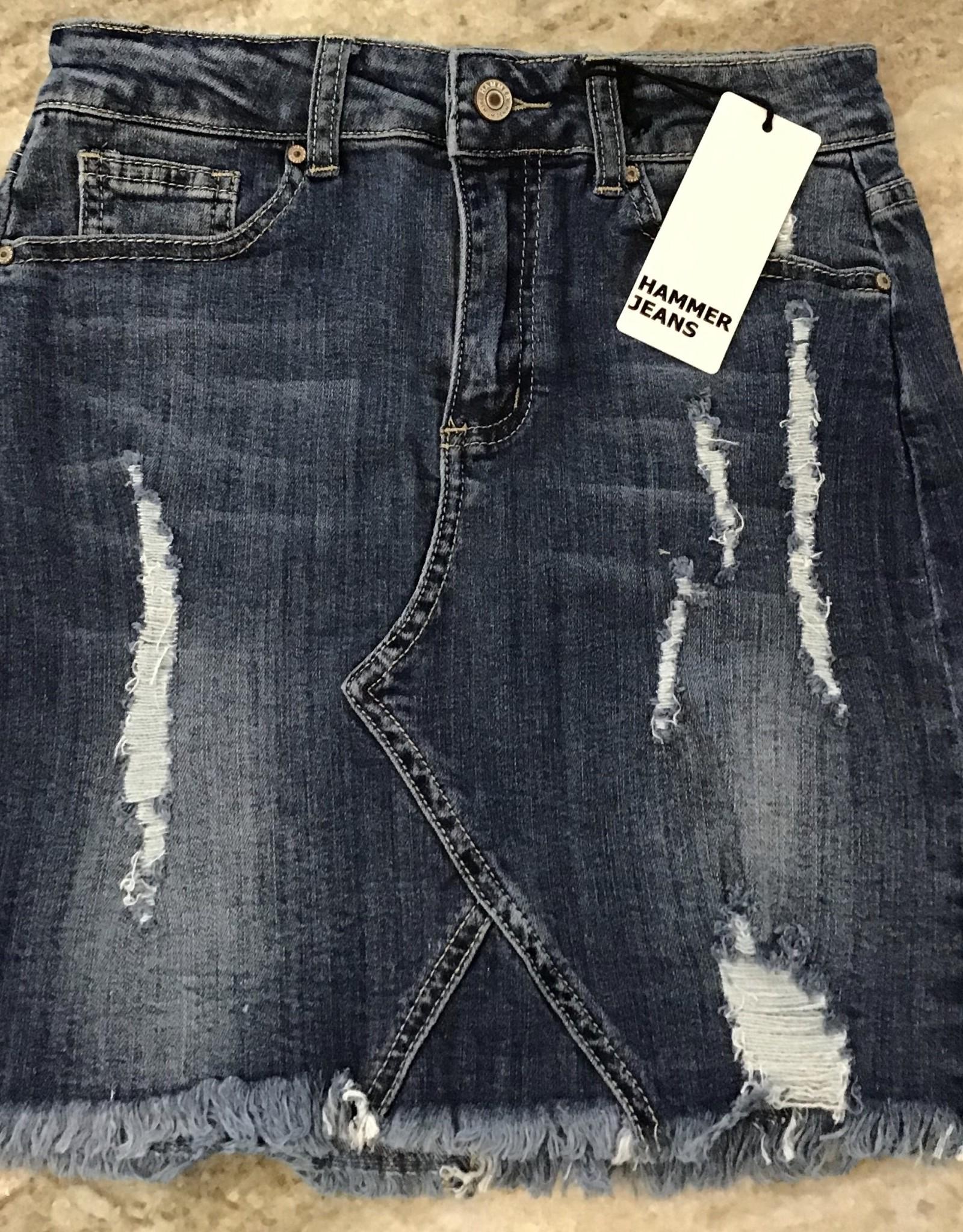 Hammer Collection Distressed Denim Skirt with Raw Hem