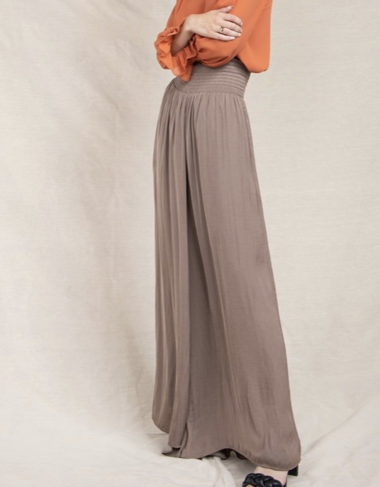 Naked Zebra Lily Wide Leg Pants with Smocked Waist