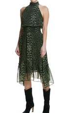 Elan Elan Leopard Print Halter Neck Dress