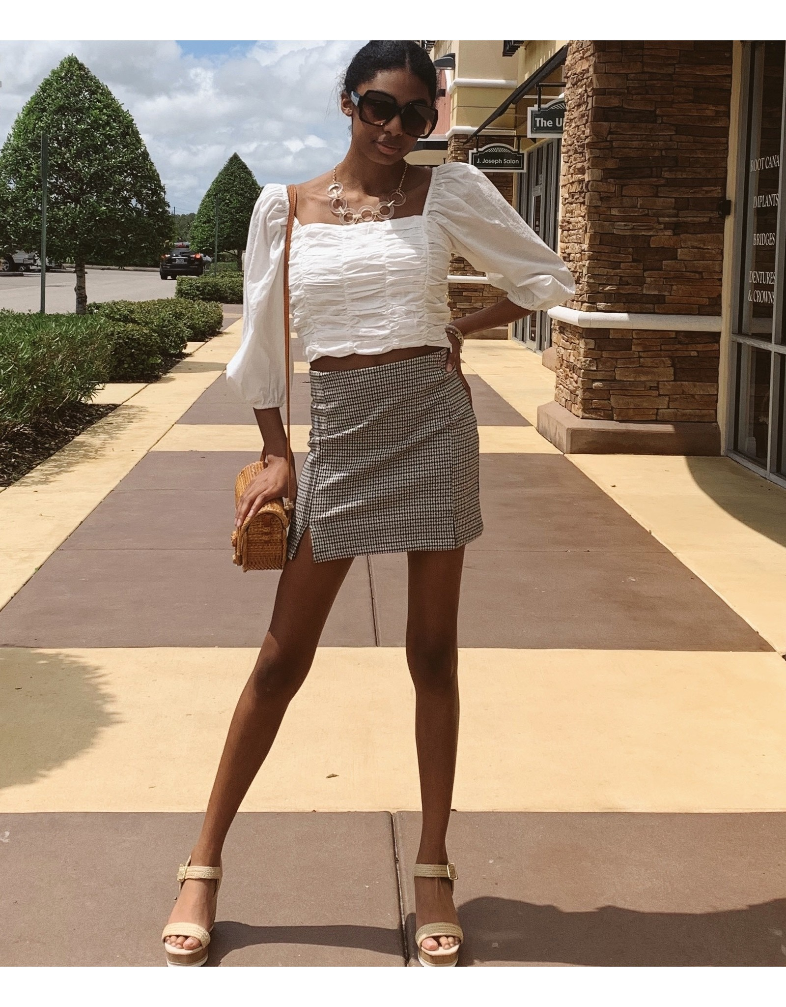 Square Neck Cropped Ruched Top
