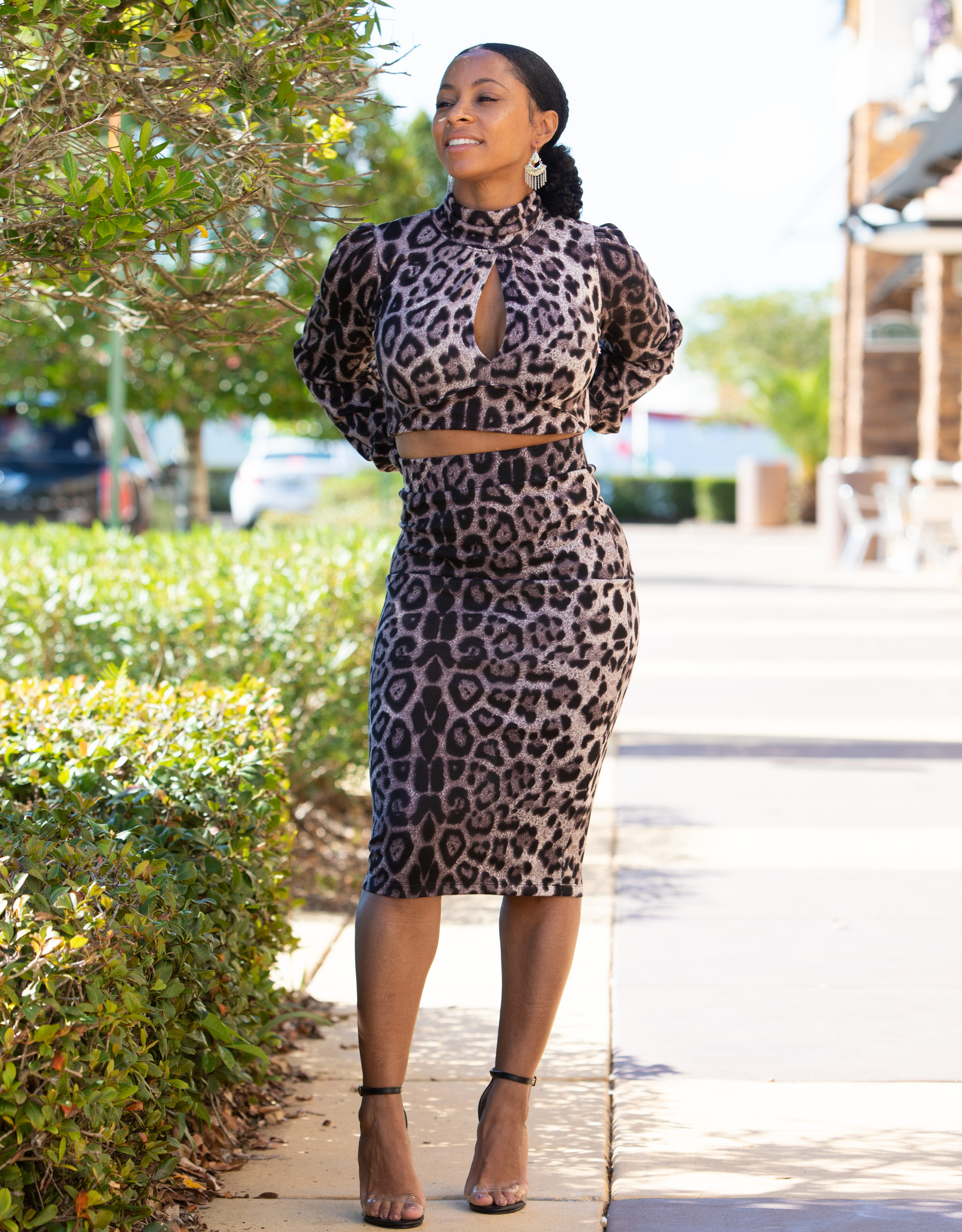 Hyfve 2 pc Cheetah Print Top and Fitted Skirt
