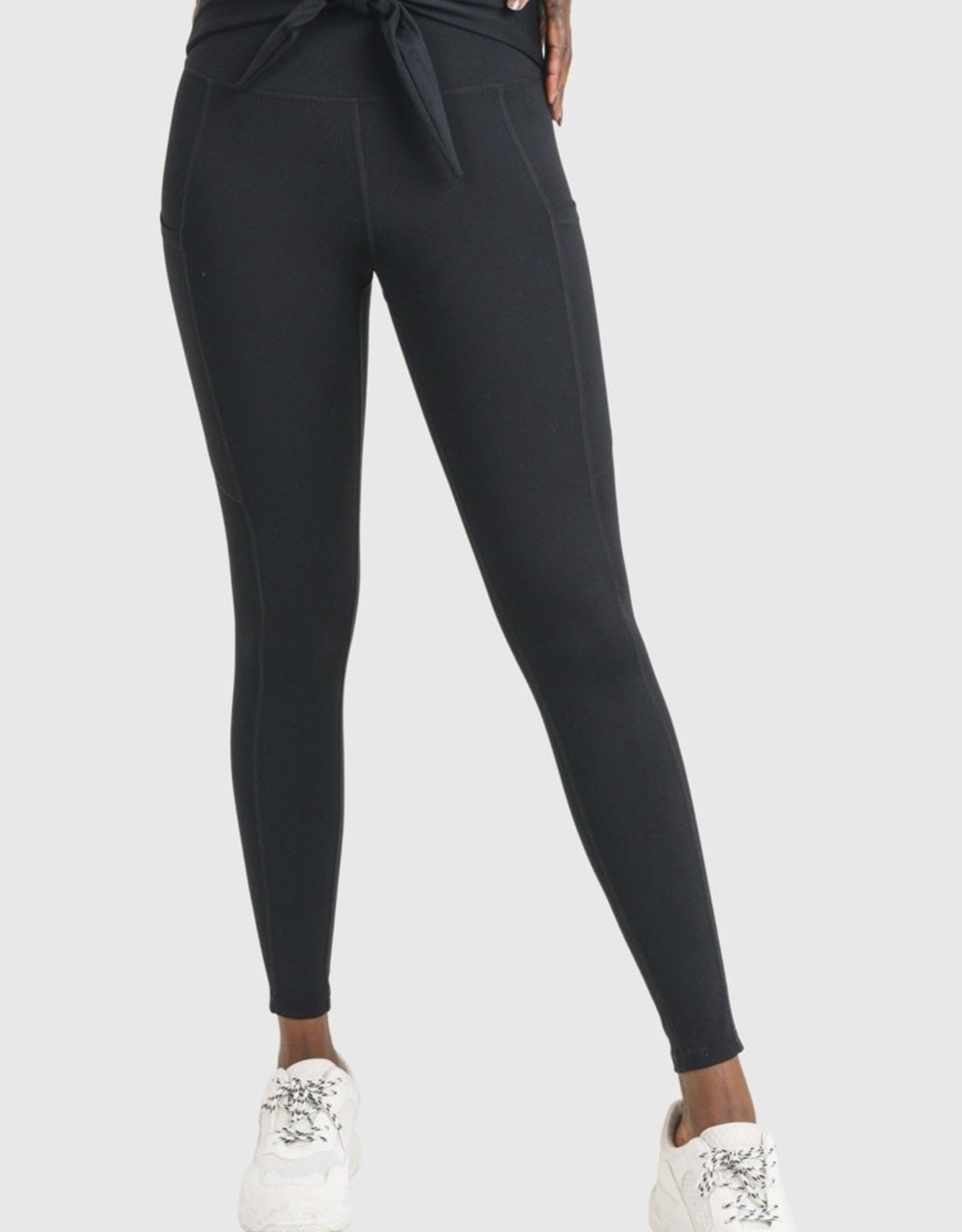 Mono B Tie Front Highwaist  Leggings with Pockets