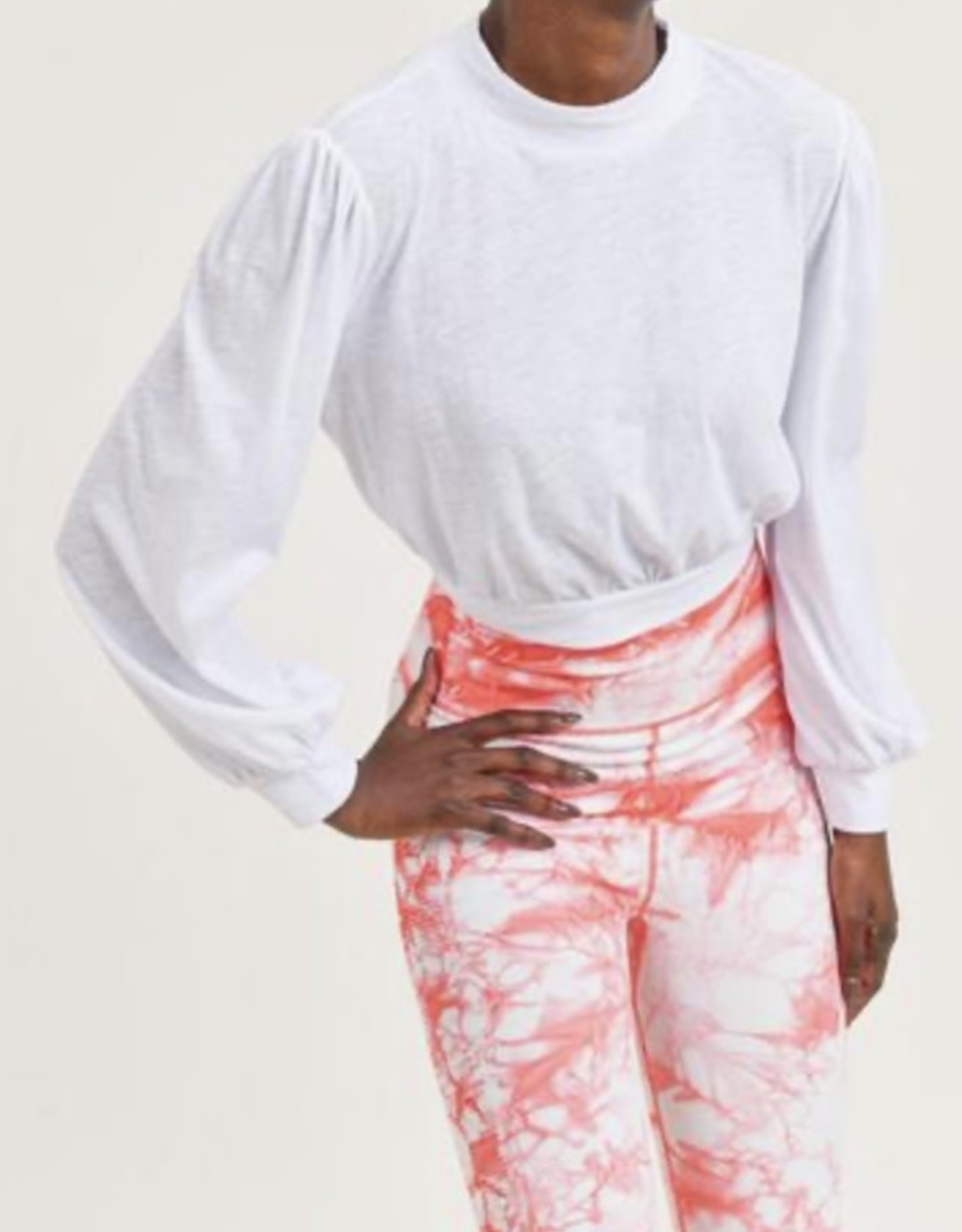Mono B Organic Cotton Blend Cropped Pullover with Bishop