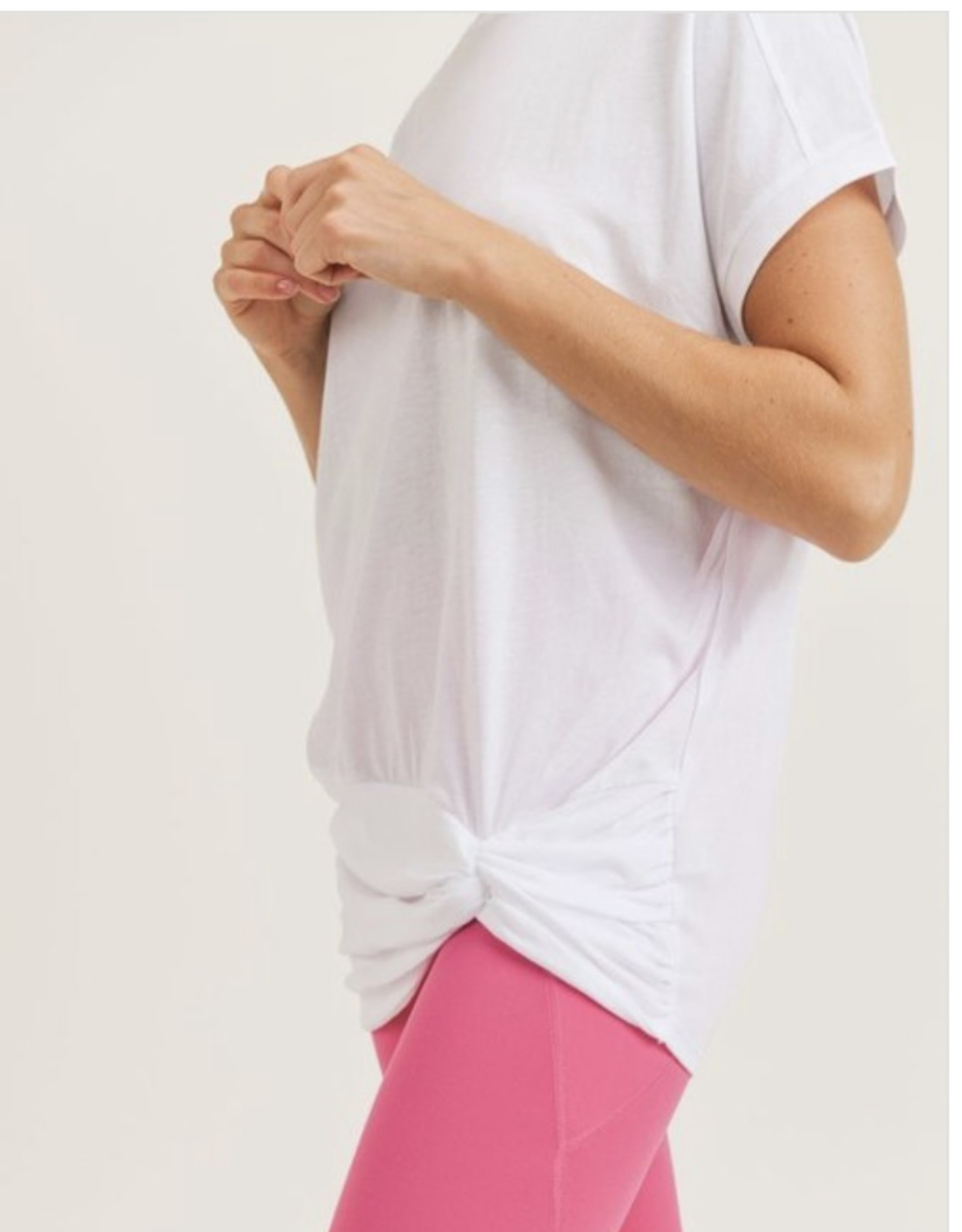 Mono B Longline Tee with Twisted Bottom and Pinched Back