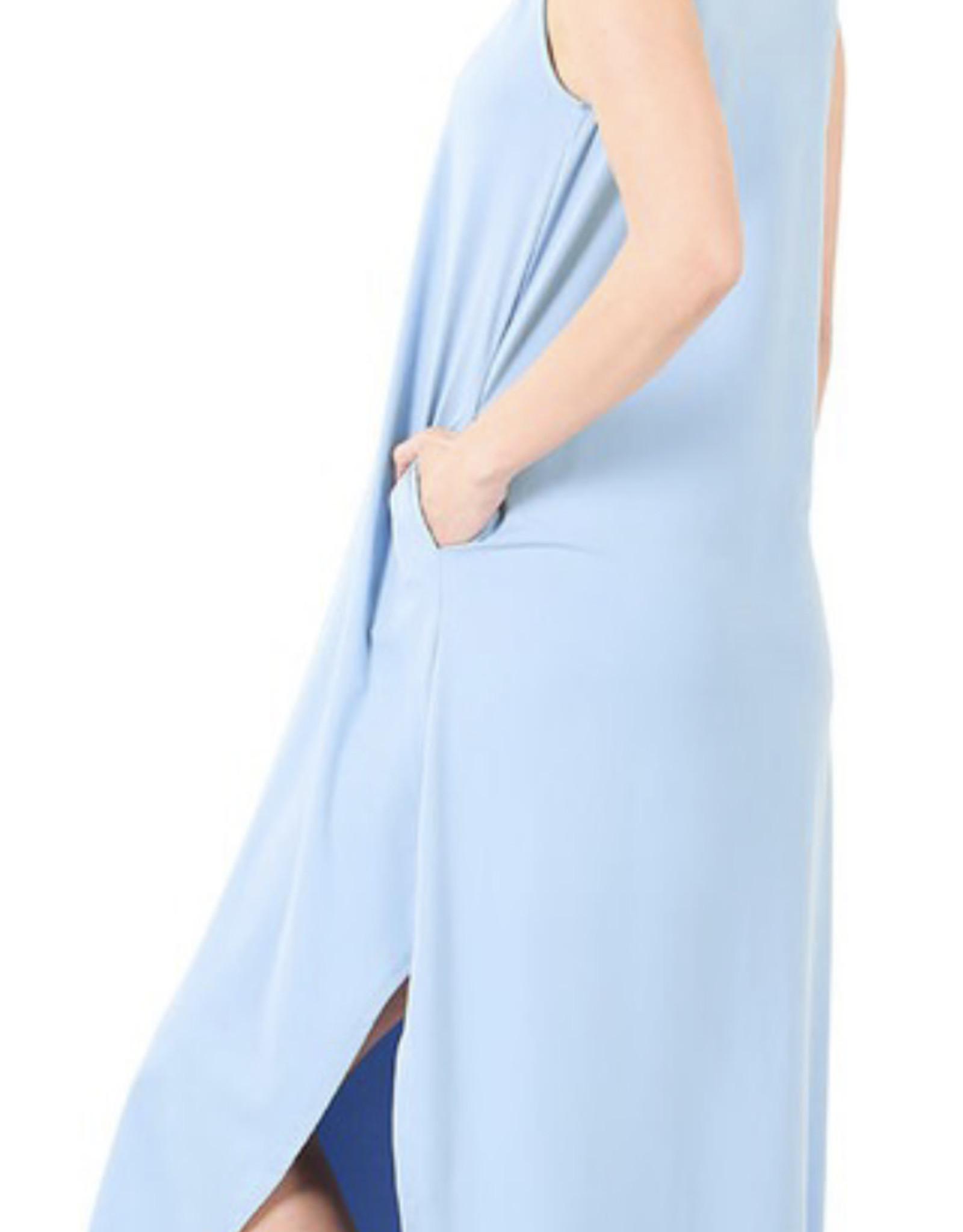 Zenana Brushed DTY Side Slit Dress with Pockets