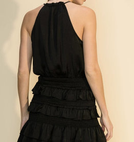 Ariella Smocked Waist Ruffle Dress with Neck Tie