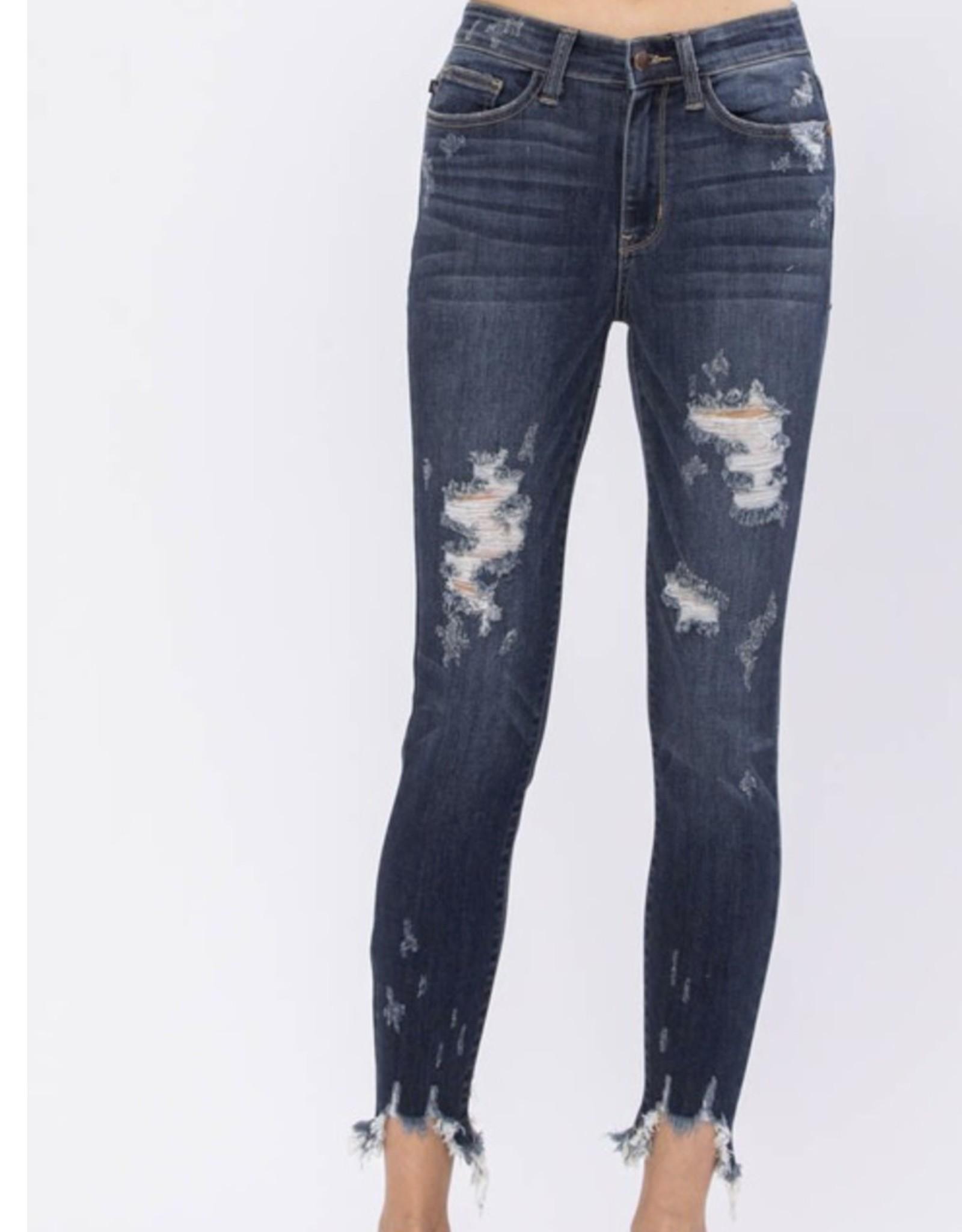 Judy Blue Judy Blue Mid Rise Skinny Destroyed Hem Jeans