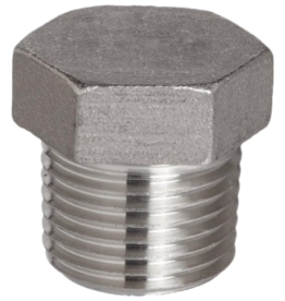 "Stainless Steel Plug - 1/2"" MPT Hex Head Plug"