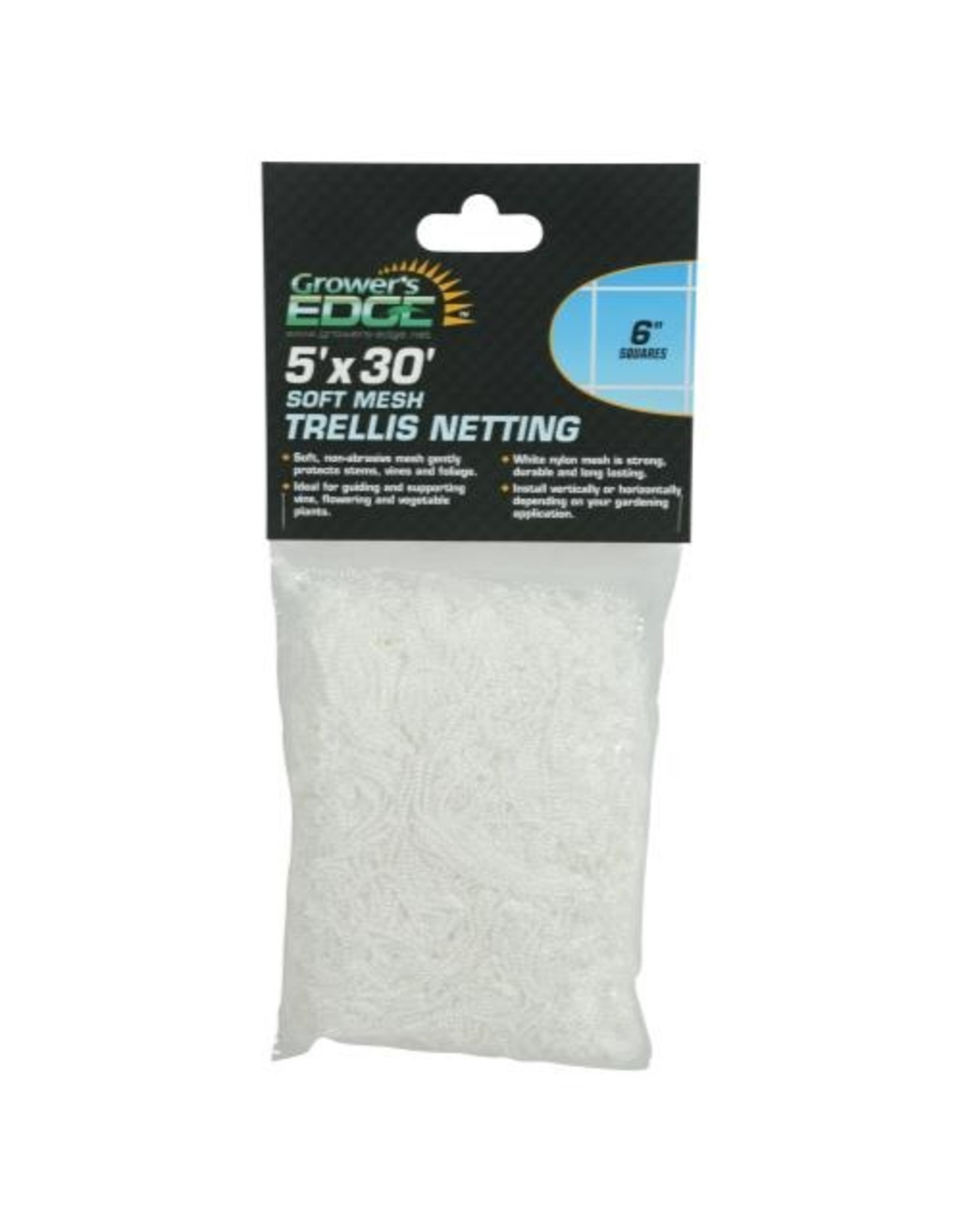 Growers Edge Soft Mesh Trellis Netting 5 ft x 30 ft w/ 6 in Squares